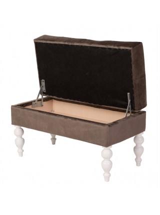 Банкетка Виктория коричневый+белая эмаль