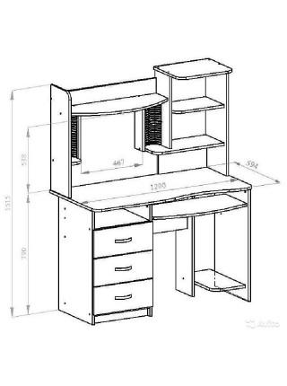 КН-7 Надстройка для стола (левая) Венге