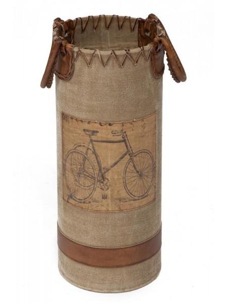 Подставка для зонтов Secret De Maison BICYCLE ( mod. M-12650 ) металл/кожа буйвола/ткань, 26*26*60, коричневый, ткань: винтаж