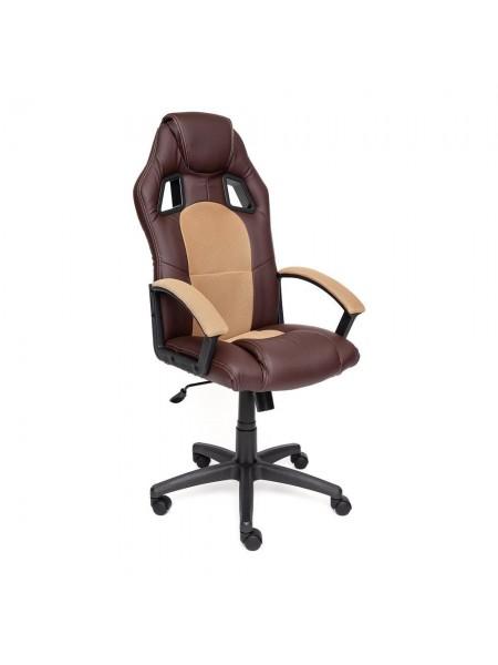Кресло DRIVER кож/зам/ткань, коричневый/бронзовый, 36-36/21