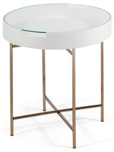 Столик NY-10501GL металл/дерево/стекло, D46х53см, белый, ножки золотые