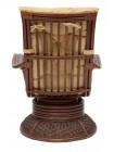"""Кресло-качалка """"ANDREA Relax Medium"""" /с подушкой/ Pecan Washed (античн. орех), Ткань рубчик, цвет кремовый"""