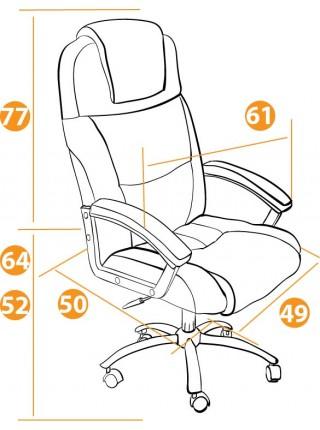 Кресло BERGAMO (хром) кож/зам, Коричневый, 2 TONE