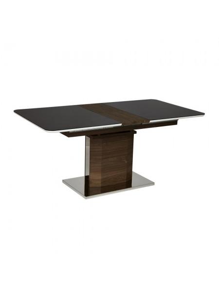 Стол RADCLIFFE( Mod. EDT-VG002) мдф high glossy, закаленное стекло, 140/170х90х75см, коричневый, стекло черное
