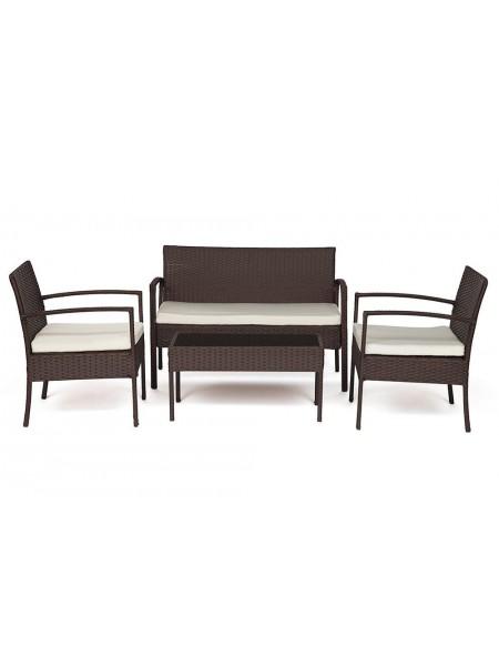 Лаундж сет (диван+2кресла+столик+подушки) (mod. 210000) пластиковый ротанг, 106х60х71см/59х60х71см/75х41х38см, коричневый, ткань: DB-02 бежевый
