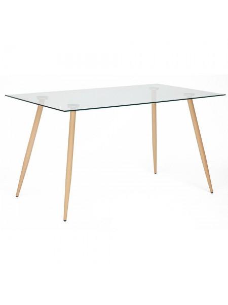 Стол SOPHIA (mod. 5003) металл/стекло (8мм), 140 х 80 х 75 см, бук/прозрачный