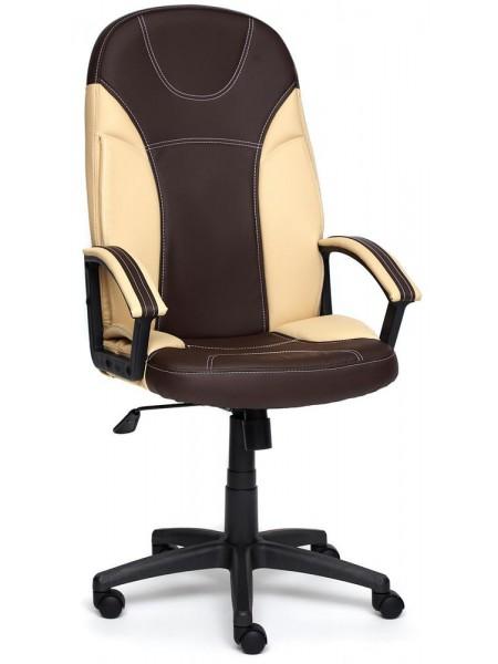 Кресло TWISTER кож/зам, коричневый/бежевый, 36-36/36-34