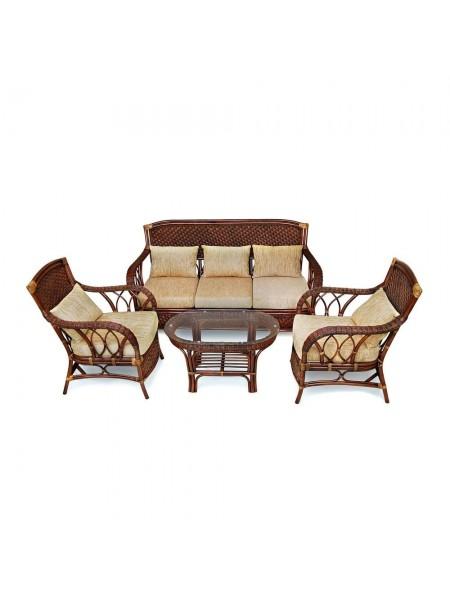 """КОМПЛЕКТ для отдыха """"ANDREA"""" (диван + 2 кресла + журн. столик со стеклом + подушки) Pecan Washed (античн. орех), Ткань рубчик, цвет кремовый"""