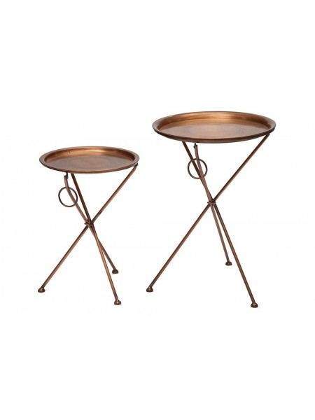 Набор из 2-х складных столиков Secret De Maison DEWI ( mod. M-5259 AB ) металл, 47х47х67/39х39х54, античная медь