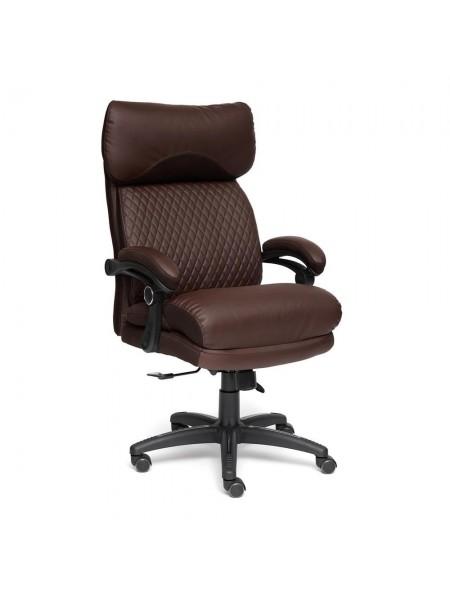 Кресло CHIEF кож/зам/ткань, коричневый/коричневый стеганный, 36-36/36-36 стеганный/24