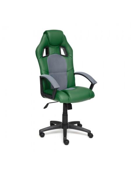 Кресло DRIVER кож/зам/ткань, зеленый/серый, 36-001/12