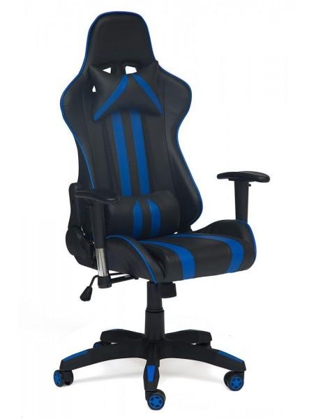 Кресло iCar кож/зам, черный/синий