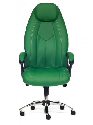 Кресло BOSS люкс (хром) кож/зам, зеленый/зеленый перфорированный, 36-001/36-001/06