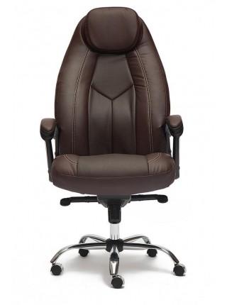 Кресло BOSS люкс (хром) кож/зам, коричневый/коричневый перфорированный, 36-36/36-36/06