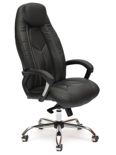 Кресло BOSS люкс (хром) кож/зам, черный/черный перфорированный, 36-6/36-6/06
