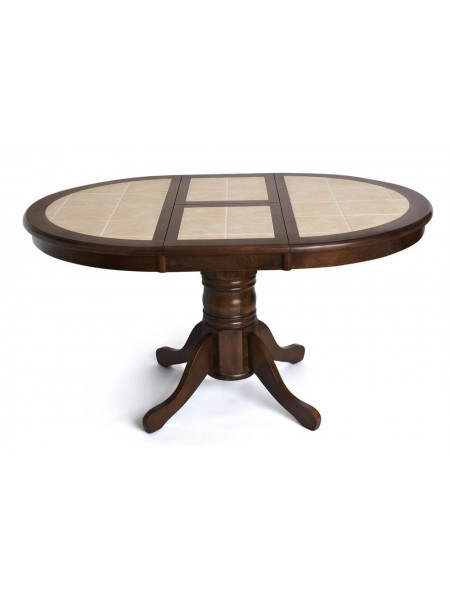 CT 4257 Стол круглый с плиткой раскладной дерево гевея/плитка, 107(145)х107х70см, Тёмный Дуб, плитка без рисунка