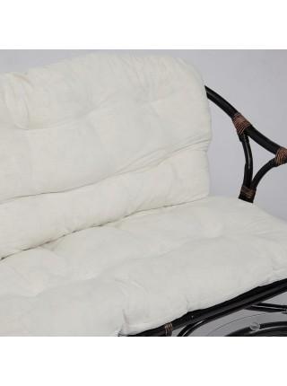 Комплект для отдыха RONDO (стол круглый (со стеклом)+2 кресла + диван)) Antique brown (античный черно-коричневый), стекло 5мм
