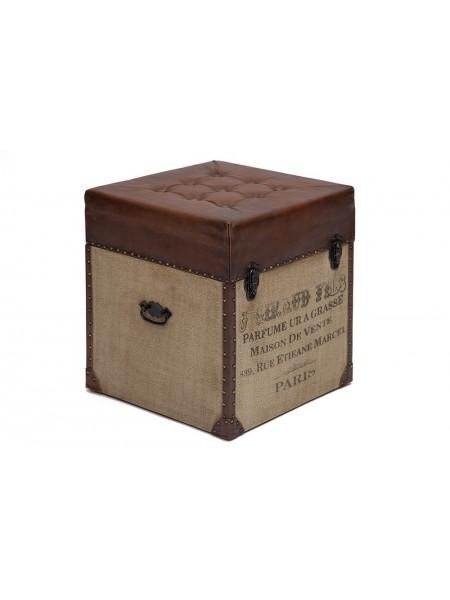 Пуф - сундук Secret De Maison CLICHY ( mod. M-9177 ) дерево манго/кожа буйвола/ткань хлопок, 46 х 46 х 52, коричневый, ткань: винтаж