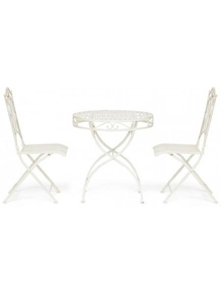 Комплект (стол + 2 стула) Secret de Maison PALLADIO (mod. PL08-8668/8669) металл, стол: 70х74,5см, стул: 45х40,5х94см, белый антик (antique white)