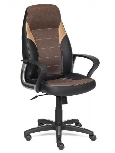 Кресло INTER кож/зам/ткань, черный/коричневый/бронзовый, 36-6/3М7-147/21