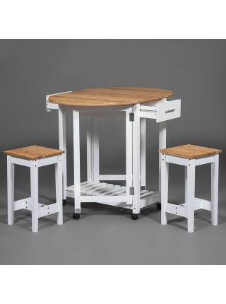 Стол кухонный с табуретом (mod. JWPE-120807) сосна/прессованный бамбук, 38(98)х70х82см, табурет: 28,5х28,5х50см, белый/натуральный