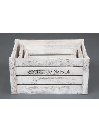 Набор ящиков Secret De Maison CIBOIRE ( mod. HX16-832 S/3 ) paulownia, мдф, 38x28x20см / 33x23x18см / 28x18x15см, Античный белый