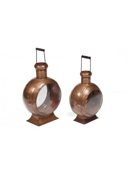 Фонарь для свечей Secret De Maison LOUVRE ( комплект из 2 х ) ( mod. M-5603 ) металл/стекло, А-37*22*47, B-28*20*40, античная медь