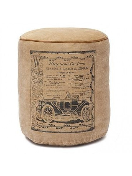 Пуф Secret De Maison RANGER ( mod. 4622 ) кожа буйвола / ткань хлопок, 42 х 42 х 45, коричневый