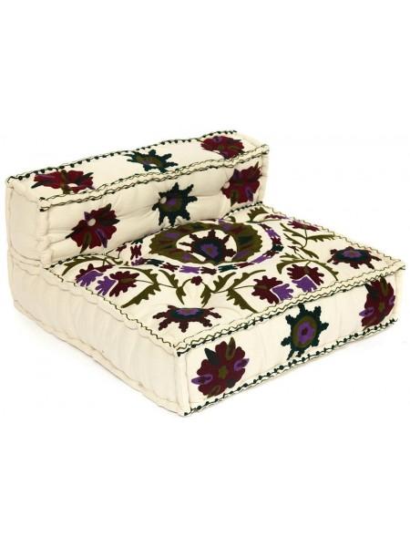 Модуль мягкий со спинкой Secret De Maison MAHARAJA (mod. MA-102) cotton Kilim, 80х80х43см, белый с цветами