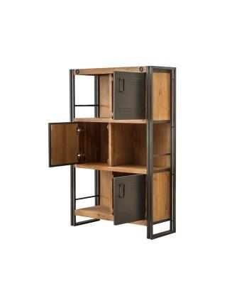Шкаф Secret De Maison CITY ( mod. CTY L03 ) 3 двери, металл/дерево акация, 90х35х140см, коричневый дым (smoke brown B034)