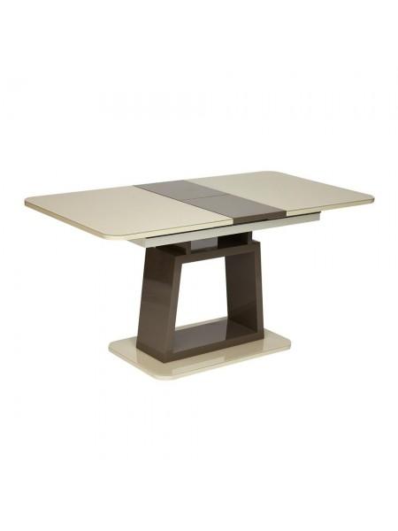 Стол BRUGGE (mod.EDT-VE001) мдф high glossy, закаленное стекло, 120/150х80х75см, слоновая кость/латте