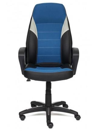 Кресло INTER кож/зам/ткань, черный/синий/серый, 36-6/С24/14