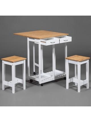 Стол кухонный с табуретом (mod. JWPE-120809) сосна/прессованный бамбук, 38(73)х70х82см, табурет: 28,5х28,5х550см, белый/натуральный