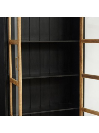 Шкаф книжный Secret de Maison BLACK LABEL (mod. DA-2289) дерево акация, манго, мдф, 110х41х211см, черный/натуральный