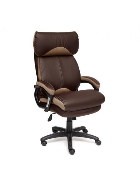 Кресло DUKE кож/зам/ткань, коричневый/бронза, 36-36/21