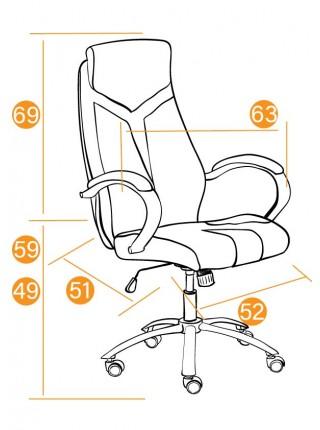 Кресло GLOSS хром кож/зам, серый/черный, 45