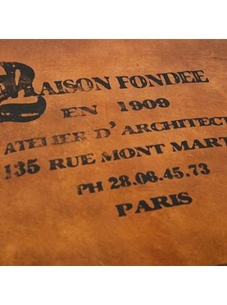 Столик - сундук Secret De Maison CONCORDE ( mod. 3176 ) дерево манго/кожа буйвола, 42х92х52см, Античный светлый