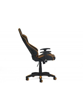 Кресло iCar кож/зам, черный/оранжевый