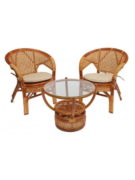 """Комплект """"PELANGI"""" 02/15 ( стол со стеклом + 4 кресла ) [без подушек] ротанг, Honey (мед)"""