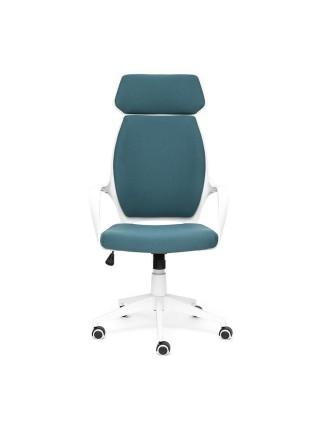 Кресло GRACE белый, ткань, голубой, 56