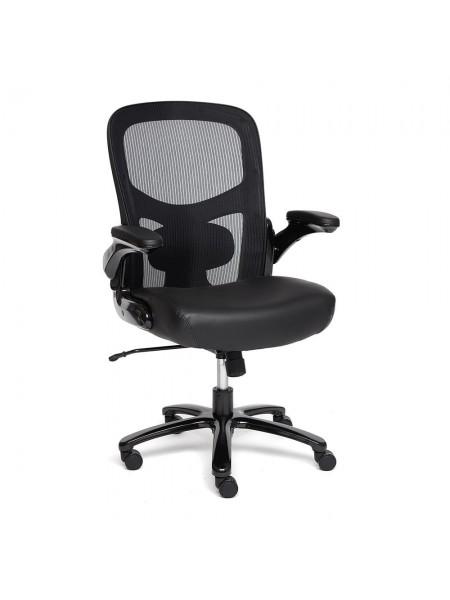 Кресло BIG-1 сетка/рецикл. кожа, черный