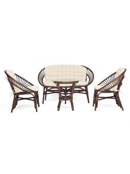 Комплект для отдыха TURKEY (стол круглый (со стеклом)+2 кресла + диван) ротанг, кр:70х65х78см, дв:120х65х78см, ст:D50х56,5см, walnut (грецкий орех)