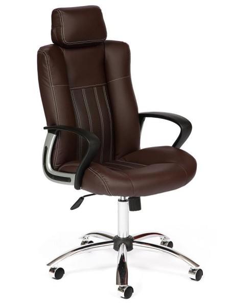 Кресло OXFORD хром кож/зам, коричневый/коричневый перфорированный, 36-36/36-36/06