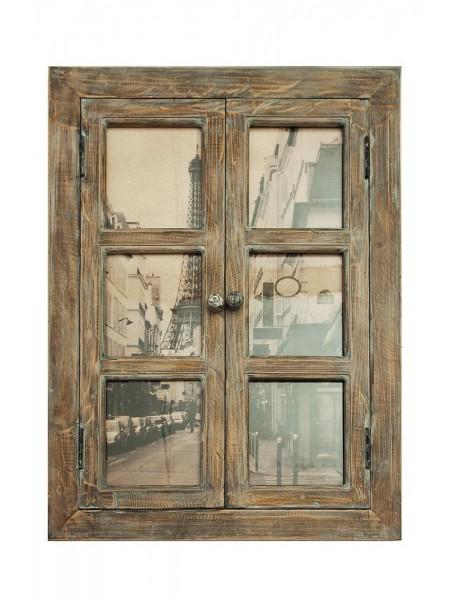 """Настенный декор - """"Окно в Париж"""" ( mod. M-9679 ) дерево/ткань, 57 х 3 х 79"""