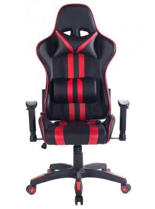 Кресло iCar кож/зам, черный/красный