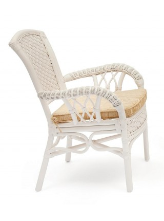 """Комплект обеденный """"ANDREA"""" ( стол + 4 кресла ) TCH White (белый), Ткань рубчик, цвет кремовый"""