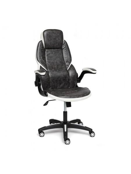 Кресло BAZUKA кож/зам, серый/белый , 2TONE/2TONE перф/36-01