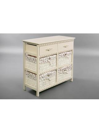 Комод 4312 / с 2 ящиками / белый, ткань В 157
