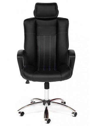 Кресло OXFORD хром кож/зам, черный/черный перфорированный, 36-6/36-6/06