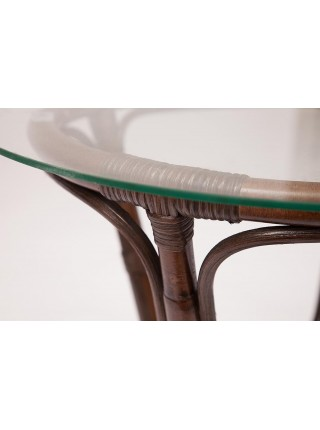 "КОМПЛЕКТ "" NEW BOGOTA "" ( диван + 2 кресла + стол со стеклом ) ротанг, кр:61х67х78,5см, дв:108х66х78,5см, ст:D60х56,5см, walnut (грецкий орех)"